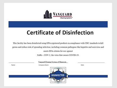 disinfection certificate cleaning company