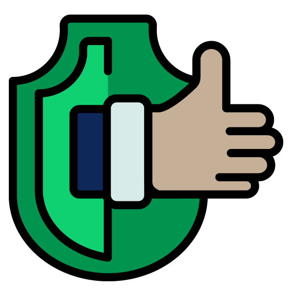 Thumbs up and shield icon